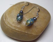 Starry Night Pressed Glass and Peacock Pearl dangle Earrings