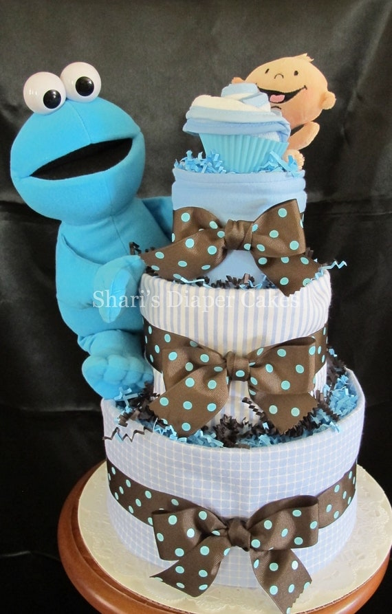 cookie monster 3 tier diaper cake baby shower centerpiece baby