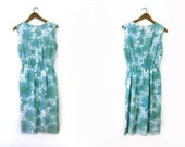 vintage 60s wiggle dress, blue and green watercolor daisies, s m