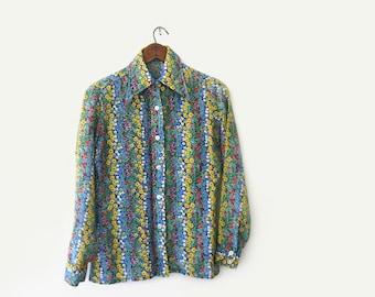vintage 70s floral blouse, primary colors floral print shirt, s m