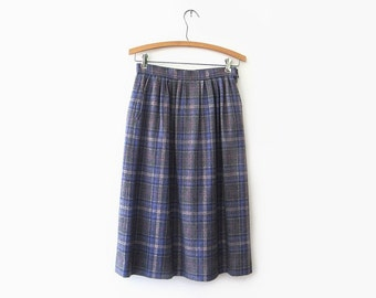 vintage plaid skirt, 70s pendleton skirt, grey and lilac plaid wool skirt, size small s