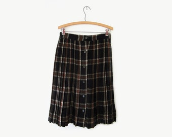 vintage 60s wool skirt, brown and black plaid pleated skirt, size m