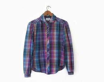 vintage 80s plaid shirt, purple plaid blouse, size s