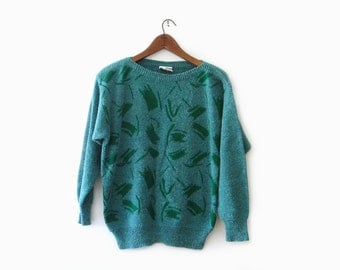 vintage 80s sweater, green brushstroke heathered knit pullover, size m