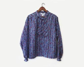 vintage 70s secretary blouse, nautical stripe shirt, size xl xxl