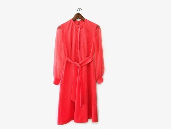 vintage 60s dress, salmon pink party dress, size s m