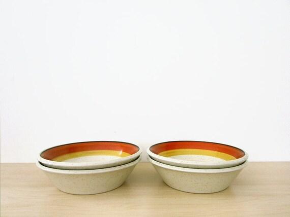 vintage set of stoneware bowls, tangerine imperial by dalton
