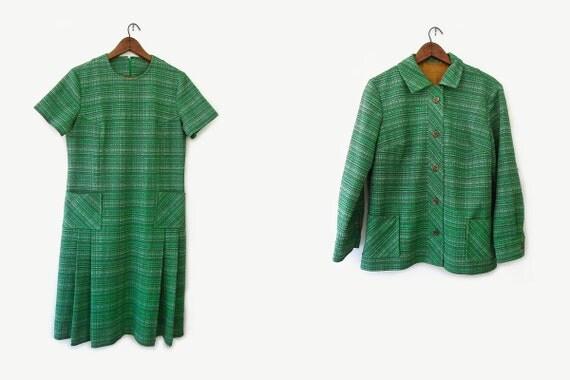 vintage 60s shift dress and jacket set, green variegated knit, size l xl