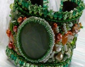 Peachy Aventurine Gem-Encrusted Cuff - SALE 50% Off
