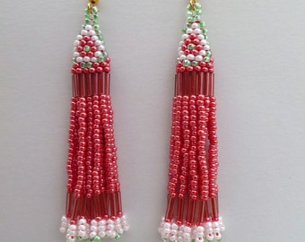 Beaded Earrings- Cardinal Flower