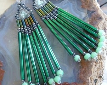 Beaded Earrings- Ever Green