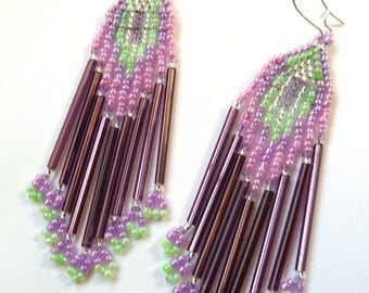 Beaded Earrings- Amethyst Blossom