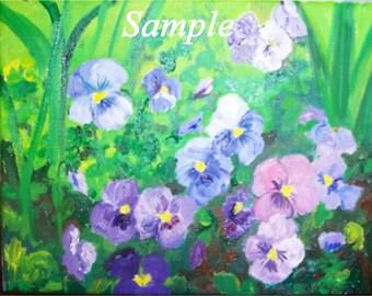 Purple Pansies Oil Painting