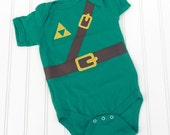 READY TO SHIP Great Costume / Baby Shower Gift Inspired by Legend of Zelda, Link sewn cotton applique bodysuit