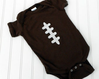 READY TO SHIP Great Costume / Baby Shower Gift bodysuit- Football sewn applique for boys or girls
