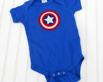 READY TO SHIP Great Costume / Baby Shower Gift  Avengers Captain America 100% cotton sewn bodysuit with applique for