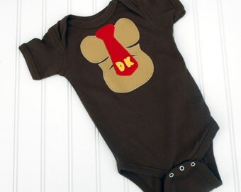 READY TO SHIP Great Costume / Baby Shower Gift Donkey Kong inspired bodysuit sewn cotton applique