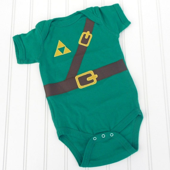 READY TO SHIP Great Halloween Costume / Baby Shower Gift Inspired by Legend of Zelda, Link sewn cotton applique bodysuit