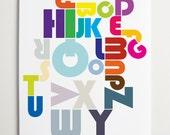 Modern Nursery Art, Alphabet Print, ModernPOP, Alphabet Pipeline Print