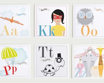Alphabet Print Set by Modernpop - Alphabet Letters - Playroom Wall Art - Wall art for Kids