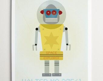 Walter No. 37561, Robot Print by ModernPOP - Art for Boys Room- Robot Nursery Art- Robot Nursery Decor Boy- Kid Bedroom- Kid Decor