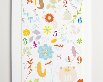 Number Art, Nursery Wall Art, Little Number Garden - Whimsical Animals - Cute art for kids