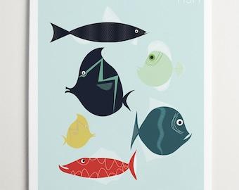 Fish Wall Art by ModernPOP - Fish Decor - Sea Life Art - Fish Art