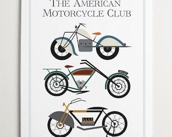 The American Motorcycle Club, Car Print by ModernPOP