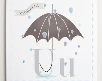 Uu is for Umbrella Alphabet Print by Modernpop