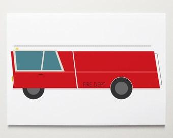 Fire Truck Wall Art by ModernPOP - Truck art for boys - Baby Shower Gift - Red Fire Truck