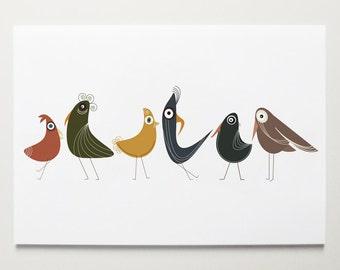 Birds of a Feather - Bird Print by ModernPOP - Bird Art for Kids - Flock of Birds - Nursery room Art