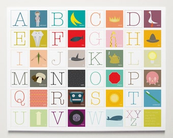 Now I Know my ABC's, Alphabet Poster by ModernPOP - Nursery Room Art - Art for Babies - Playroom Wall Decor
