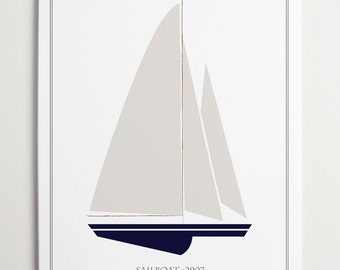 Sailboat No. 2907 Nursery Wall Art by ModernPOP - Nautical Nursery - Playroom Decor - Living Room Wall Hanging