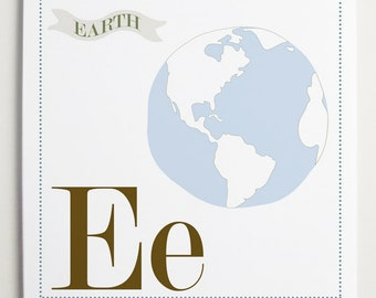 Ee is for Earth Alphabet Print by Modernpop