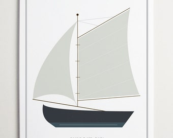 Sailboat No. 3851 Nursery Art by ModernPOP - Living Room Decor - Playroom Wall Art - Boat Art - Gift Dad - Gift Mom