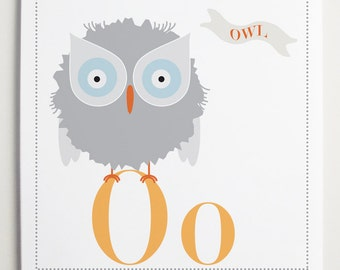 Oo is for Owl Alphabet Print by Modernpop - kids wall art - Children's Room - Alphabet Art - Wall Letter O