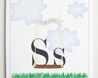 Ss is for Swing Alphabet Print by Modernpop - Wall Letter S - Nursery Letters - Art for kids