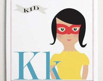 Kk is for Kid (Girl or Boy Versions) Alphabet Print by Modernpop