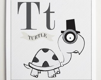 Tt is for Turtle Alphabet Print by Modernpop - Alphabet Letters - Art for Kids - Toddler Art - Wall Letter T