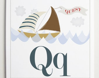 Qq is for Quest Alphabet Print by Modernpop