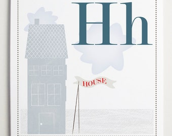 Hh is for House Alphabet Print by Modernpop