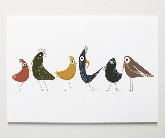 Birds of a Feather - Bird Print by ModernPOP - Bird Art for Kids - Flock of Birds - Nursery room Art