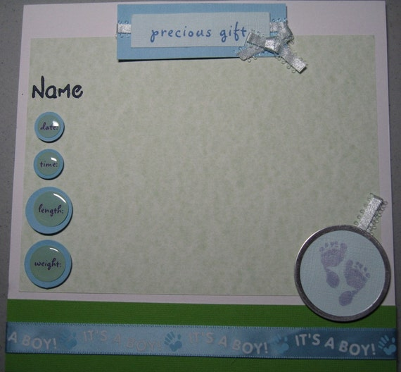 8x8 Premade Baby Boy Scrapbook, Over 25 pages