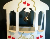 Wishing Well Pop-Up Card with Bell..Wedding or Anniversary  'Ring for A Kiss' -ITEM 8065