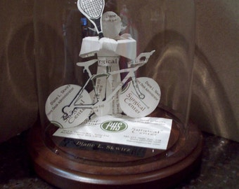 Business Card Sculpture -Mountain Bike Tennis Player -NO 8936 -Any Theme, Sport or Profession