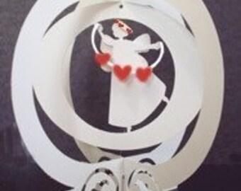 Angel Dancer Ballerina Pop Up Globe Red Hearts - cut out Swirl Base -ITEM 7824