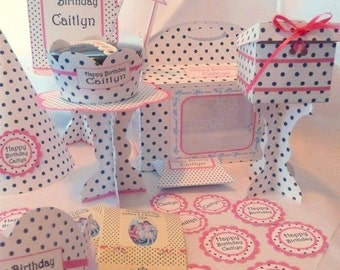Party DIY Printable Gable Box Party Kit - Print and mail-a-party KIT No 925-Black Polka Dots Pink Trim -change to any event