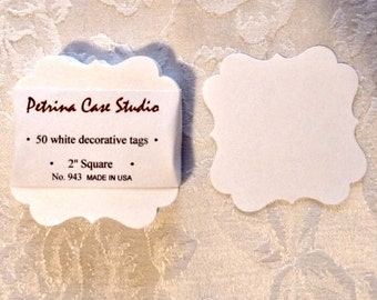 Tags Personalized Your wording Custom 100 - 2 inch square Gift Tags, Decorative Square,  Die Cut No943