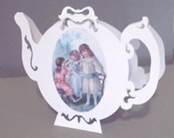 Pop Up Card TEA POT -Victorian Style Series 18kt gold leaf painted embellishments NO. 9933