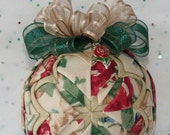 Quilted Ornaments Quilt Ball Ornaments Longaberger Heirloom Floral with Matching Rose Charm